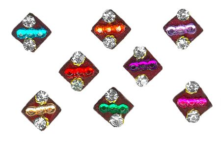 Colorful Stone Studded Square Bindis