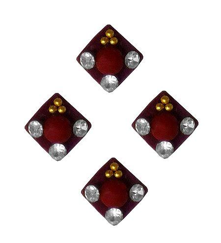 4 Maroon Square Felt Bindis with White Stones