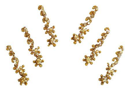 6 Stone Studded Golden Long Bindis
