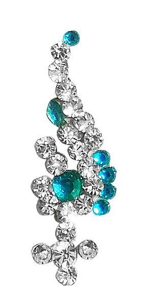 Cyan Blue and White Stone Studded Bindi