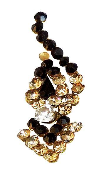 Black and Yellow Stone Studded Long Bindi