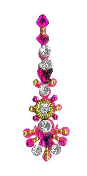 Magenta with White Stone Long Bindi