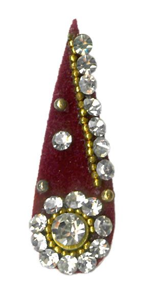 Single Maroon Bindi with White Stone