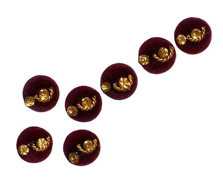 7 Maroon Felt Round Bindis with White Stone