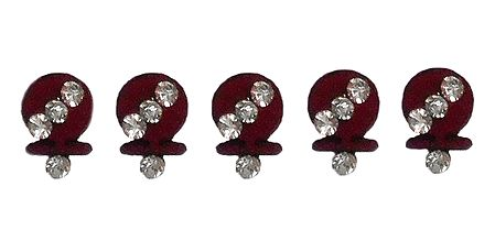 5 Maroon Round Bindis with White Stone