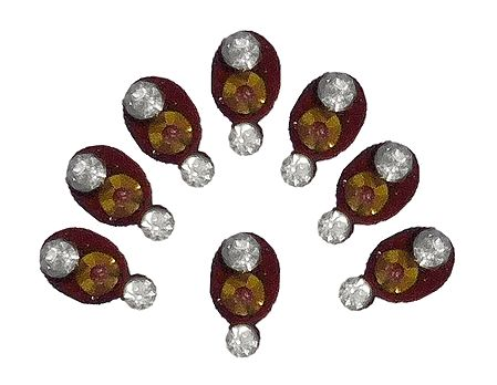8 Maroon Oval Bindis with White Stone