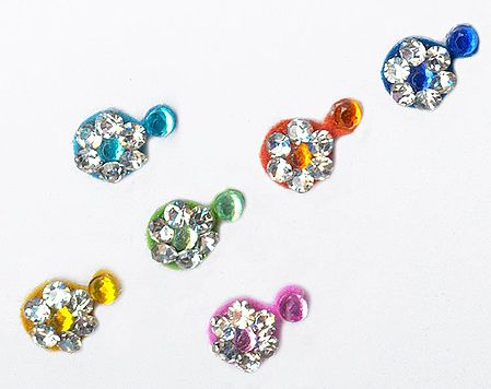 White Stone Studded Multicolor Small Bindis