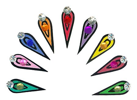 Multicolor Teardrop Long Bindis