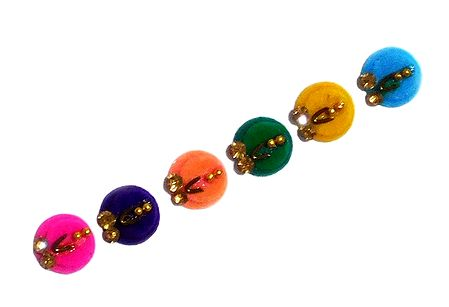 6 Multicolor Felt Round Bindis with Stone