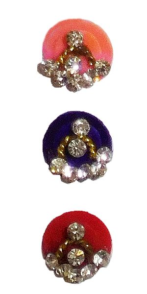 3 Multicolor Round Bindis with White Stone