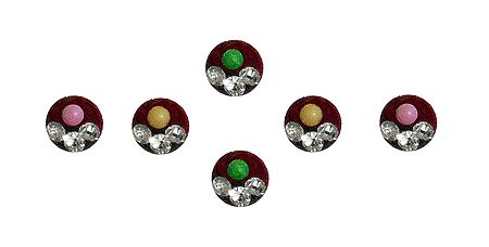 6 Multicolor Round Bindis with White Stone
