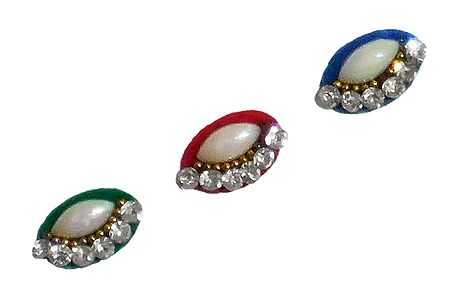 3 Multicolor Oval Bindis with White Stone