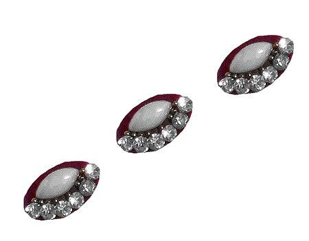3 Maroon Oval Bindis with White Stone