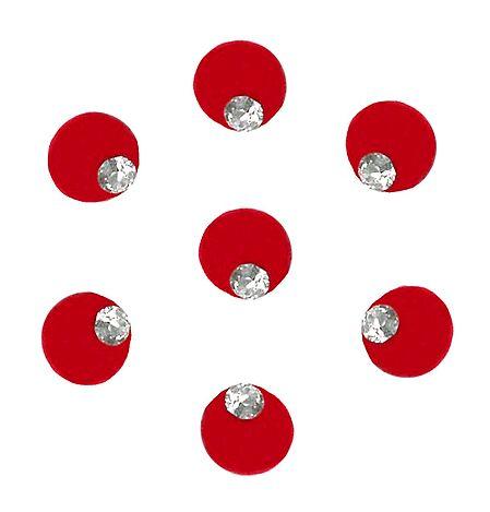 7 Red Felt Round Bindiswith White Stone