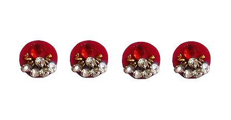 4 Red Round Bindis with White Stone