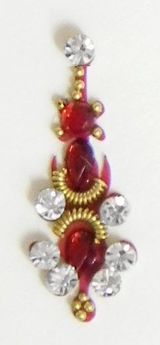 Red with White Stone Studded Bindi