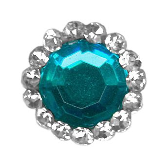 Cyan Blue with White Stone Round Bindi