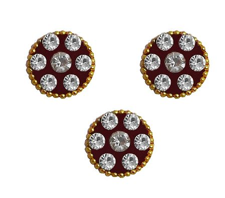 3 White Stone Studded Round Bindis
