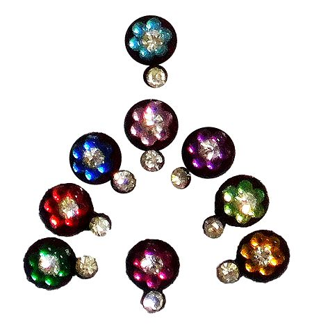9 Multicolor Round Bindis with White Stone