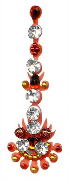Saffron and White Stone Studded Designer Bindi