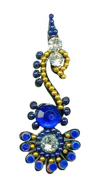 Blue with White Stone Swan Bindi