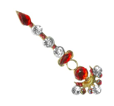 Saffron Stone Studded Long Bindi