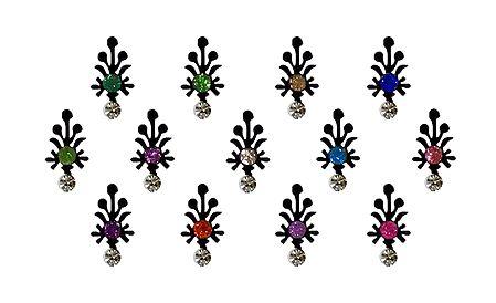 13 Multicolor Stone Bindis on Black Felt