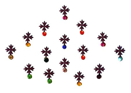 15 Maroon Bindis with Multicolor Stone