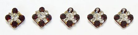 Maroon and White Stone Studded Square Bindis
