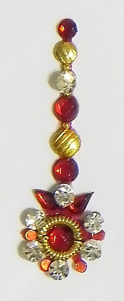 Red and White Stone Studded Bindi