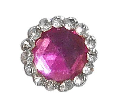 Pink with White Stone Round Bindi