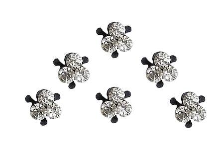 6 Black Bindis with White Stone