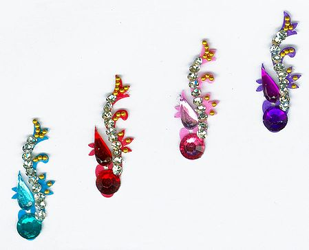 Designer Bindis with White and Multicolor Stones