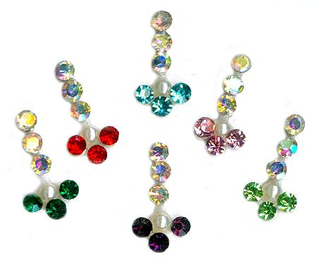 Multicolor and White Stone Studded Long Bindis