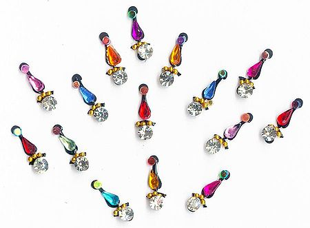 White and Multicolor Stone Studded Small Bindis