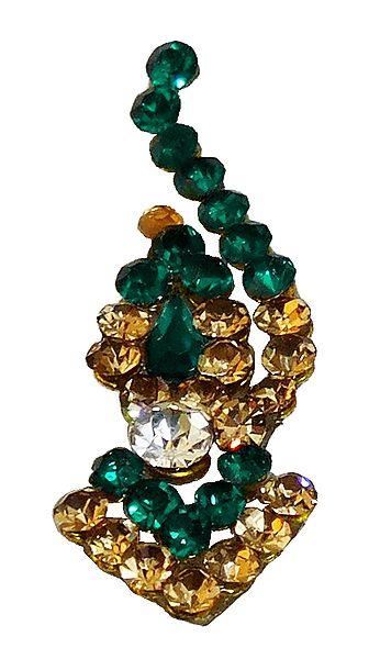 Designer Bindi with Green and Yellow Stone