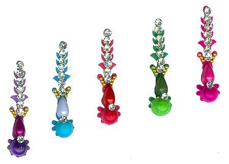 Designer Multicolor Bindis with White Stones