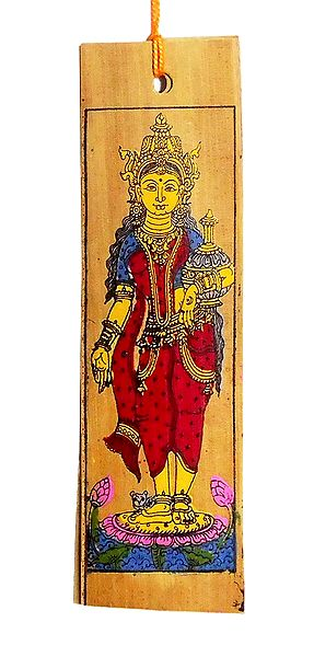 Devi Lakshmi - Patta Painting on Palm Leaf Bookmark