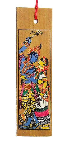 Radha Krishna - Patta Painting on Palm Leaf Bookmark