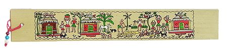 Village Scene - Tribal Painting Bookmark