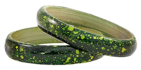 Pair of Dark Green with Yellow Acrylic Bangles