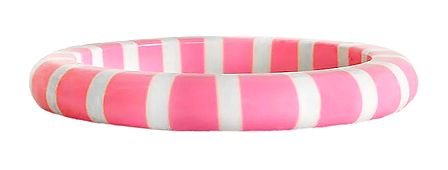 White Stripe on Pink Acrylic Bracelet