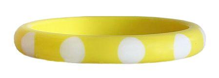 White Dot on Yellow Acrylic Bracelet