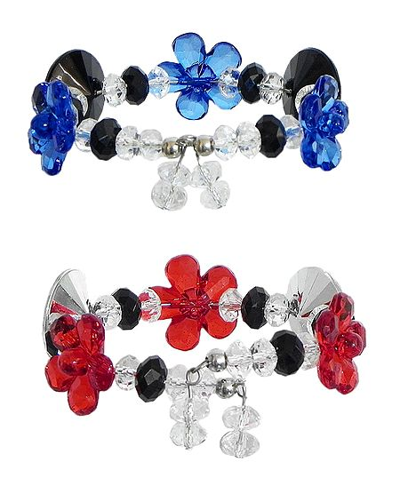 Set of 2 Red and Blue Acrylic Bead Charm Bracelet