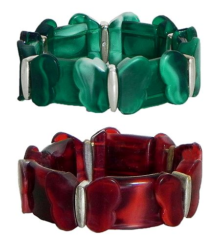 Set of 2 Red and Green Stretchable Acrylic Link Bracelet