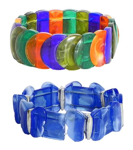 Set of 2 Blue and Multicolor Stretchable Link Bracelet