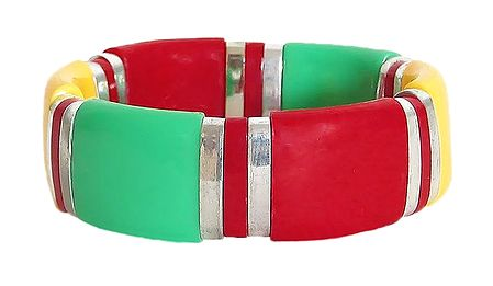 Yellow, Red and  Green Stretch Bracelet