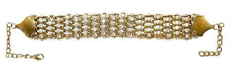 Stone Studded Golden Metal Band Bracelet