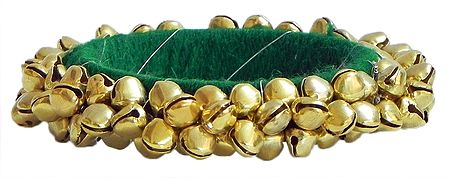 Golden Ghunghroo Bracelet with Green Cloth Lining