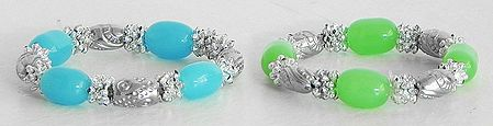 Pair of Light Cyan and Light Green Bead Stretch Bracelet